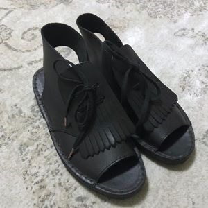 Clark's Originals Leather Peep Toe Lace Up Sandals
